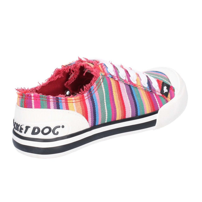 Red-Multi - Side - Rocket Dog Womens-Ladies Jazzin Eden Stripe Lace Up Canvas Trainer