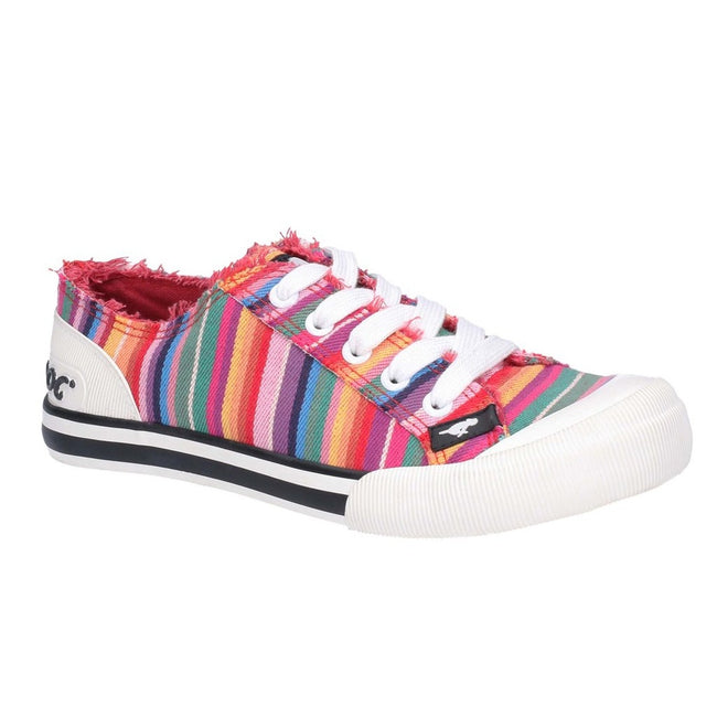 Red-Multi - Front - Rocket Dog Womens-Ladies Jazzin Eden Stripe Lace Up Canvas Trainer