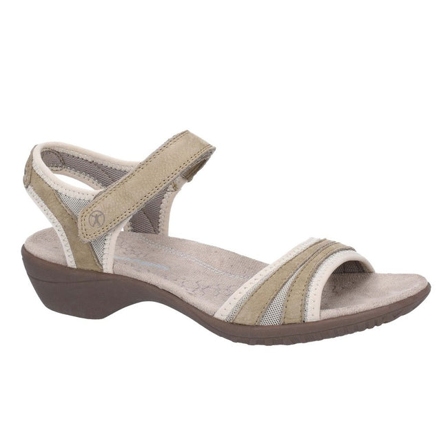 Taupe - Front - Hush Puppies Womens Athos Touch Fasten Leather Sandals