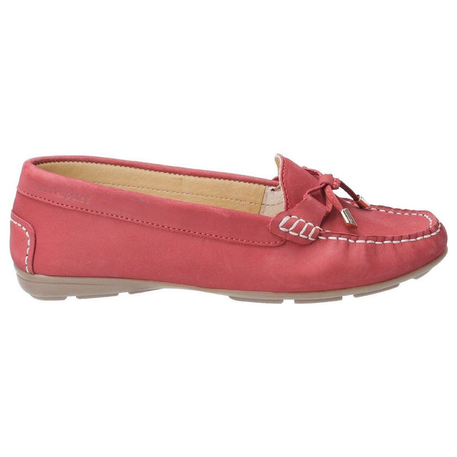 Red - Front - Hush Puppies Womens-Ladies Maggie Slip On Moccasin