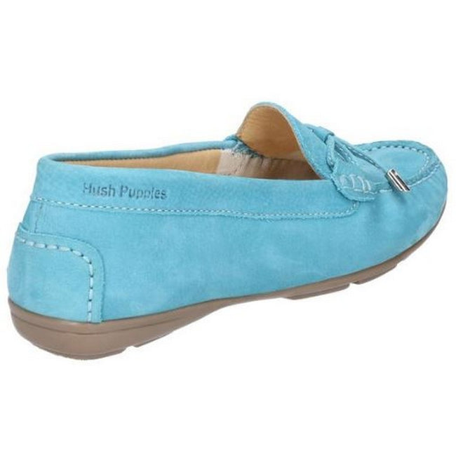 Teal - Back - Hush Puppies Womens-Ladies Maggie Toggle Leather Shoe