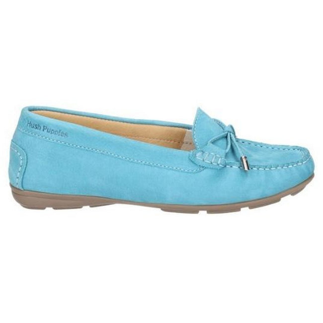 Teal - Side - Hush Puppies Womens-Ladies Maggie Toggle Leather Shoe