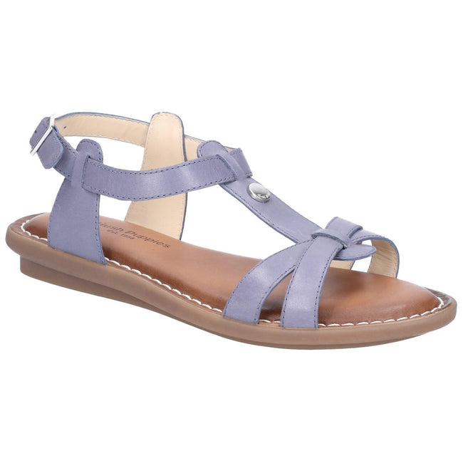Blue - Front - Hush Puppies Womens-Ladies T-strap Leather Buckle Sandal