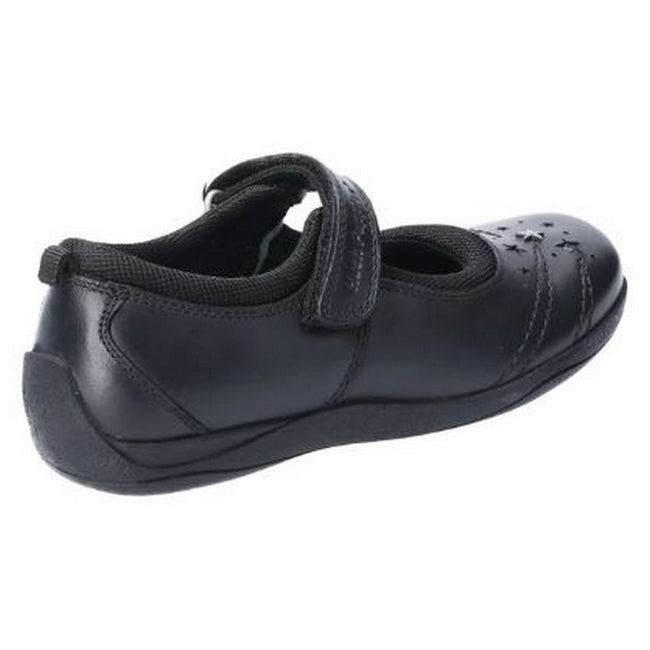 Black - Back - Hush Puppies Amber Junior Girls Leather School Shoe