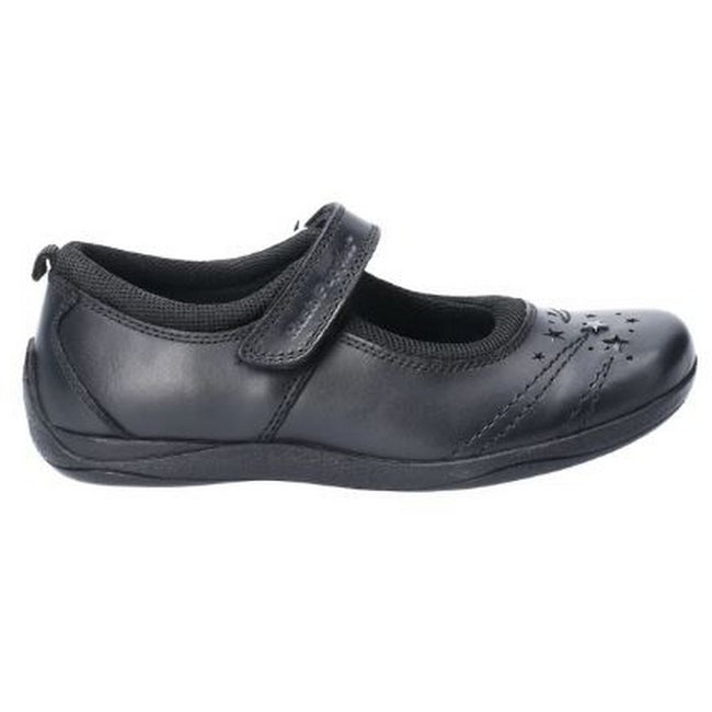Black - Side - Hush Puppies Amber Junior Girls Leather School Shoe