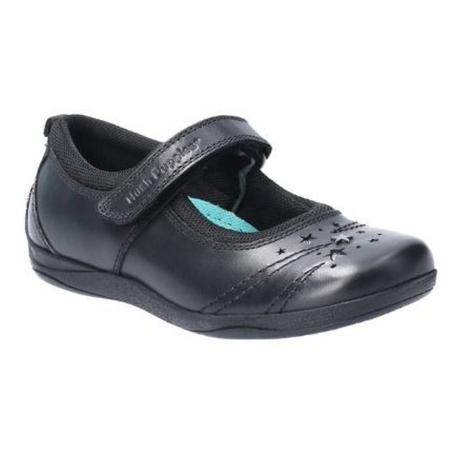 Black - Front - Hush Puppies Amber Junior Girls Leather School Shoe