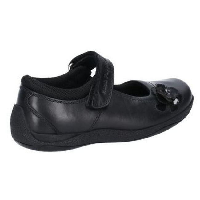 Black - Back - Hush Puppies Jessica Junior Girls Leather School Shoe