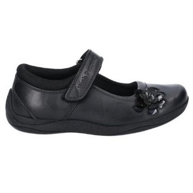 Black - Side - Hush Puppies Jessica Junior Girls Leather School Shoe