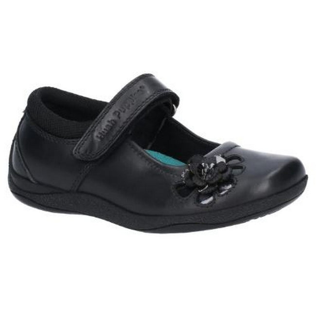 Black - Front - Hush Puppies Jessica Junior Girls Leather School Shoe