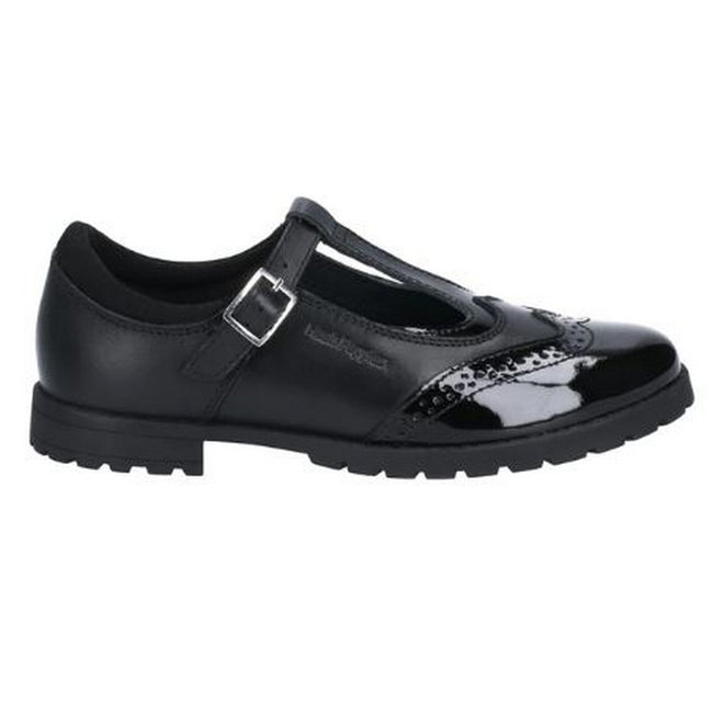 Black - Back - Hush Puppies Girls Maisie Junior Leather Buckle School Shoe