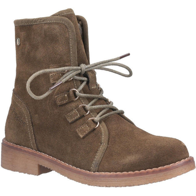 Khaki - Front - Hush Puppies Womens Milo Zip Ankle Boot