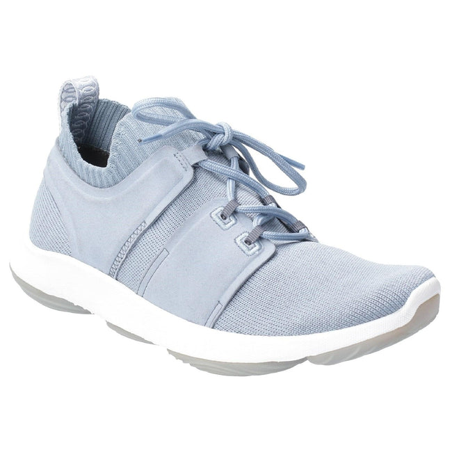 Dusty Blue - Front - Hush Puppies Womens World BounceMax Lace Up Trainer
