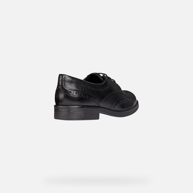 Black - Back - Geox J Agata D Girls Leather Lace Up Shoe