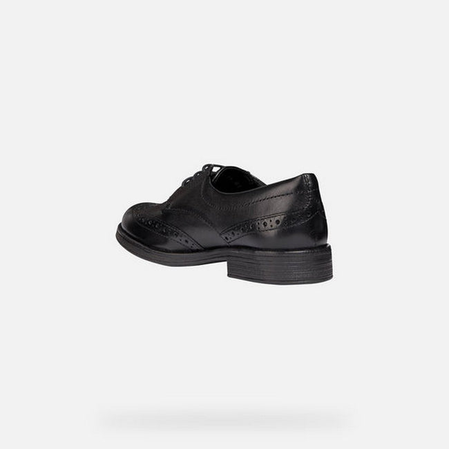 Black - Side - Geox J Agata D Girls Leather Lace Up Shoe