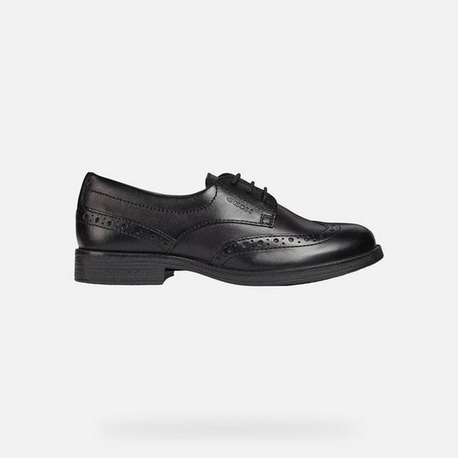 Black - Lifestyle - Geox J Agata D Girls Leather Lace Up Shoe