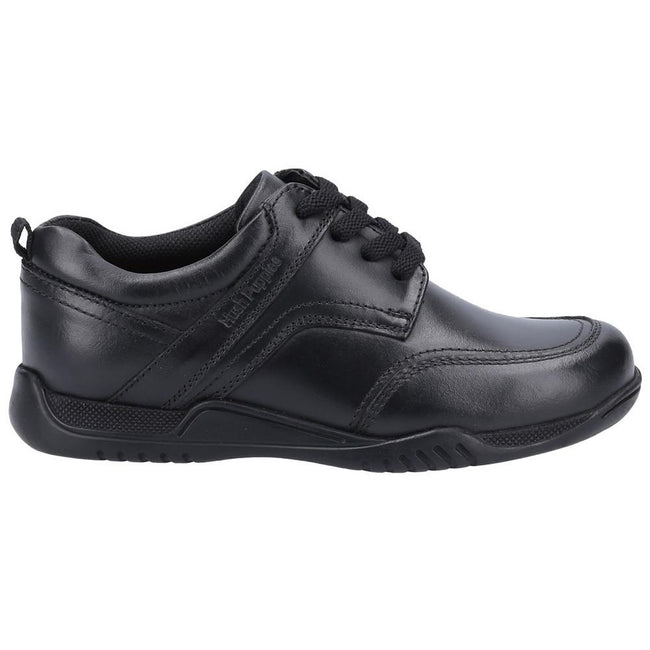 Black - Back - Hush Puppies Boys Harvey Leather School Shoes