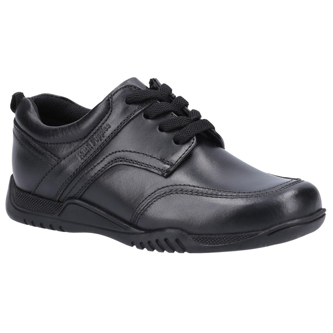 Black - Front - Hush Puppies Boys Harvey Leather School Shoes