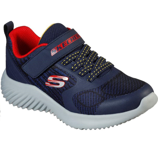 Navy-Red-White - Front - Skechers Childrens-Kids Bounder Gorven Trainers