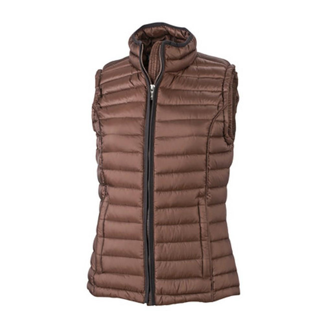 Coffee-Black - Front - James and Nicholson Womens-Ladies Quilted Down Vest