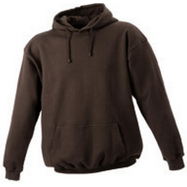 Brown - Front - James and Nicholson Unisex Hooded Sweatshirt