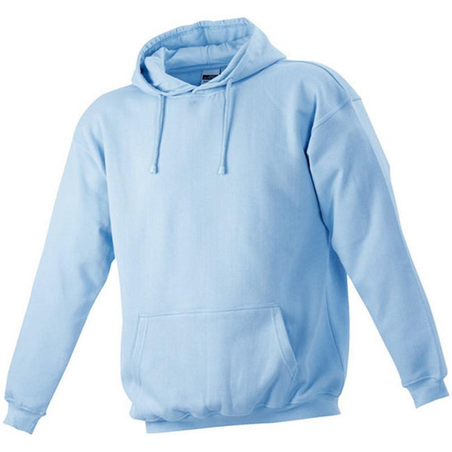 Light Blue - Front - James and Nicholson Unisex Hooded Sweatshirt