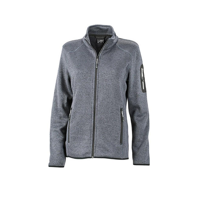 Dark Grey Melange-Silver - Front - James and Nicholson Womens-Ladies Knitted Fleece Jacket