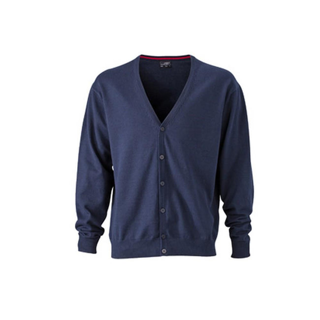Navy - Front - James and Nicholson Mens V-Neck Cardigan