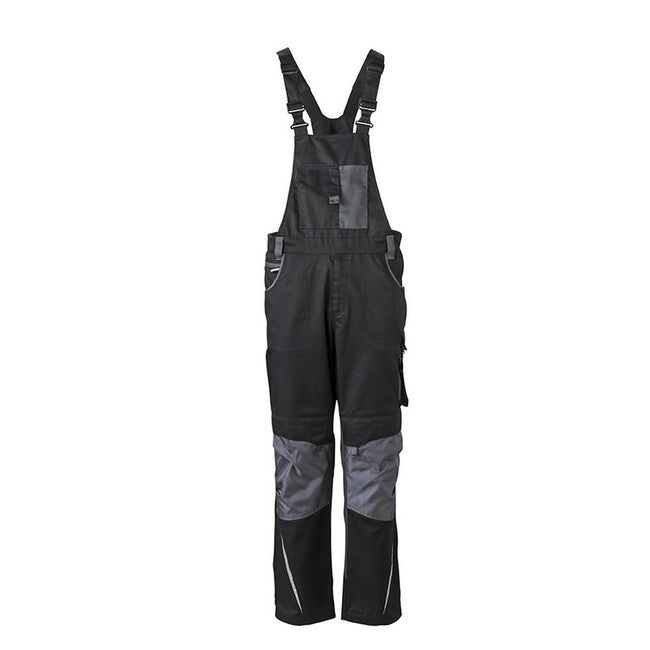 Carbon Grey-Black - Side - James and Nicholson Unisex Workwear Pants with Bib