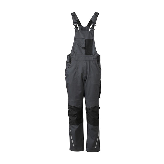 Carbon Grey-Black - Front - James and Nicholson Unisex Workwear Pants with Bib