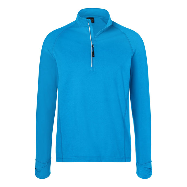 Bright Blue - Front - James and Nicholson Mens Half Zip Sports Top