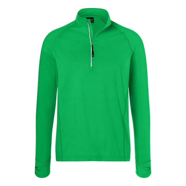 Fern Green - Front - James and Nicholson Mens Half Zip Sports Top