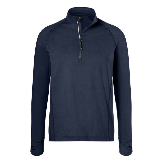 Navy - Front - James and Nicholson Mens Half Zip Sports Top