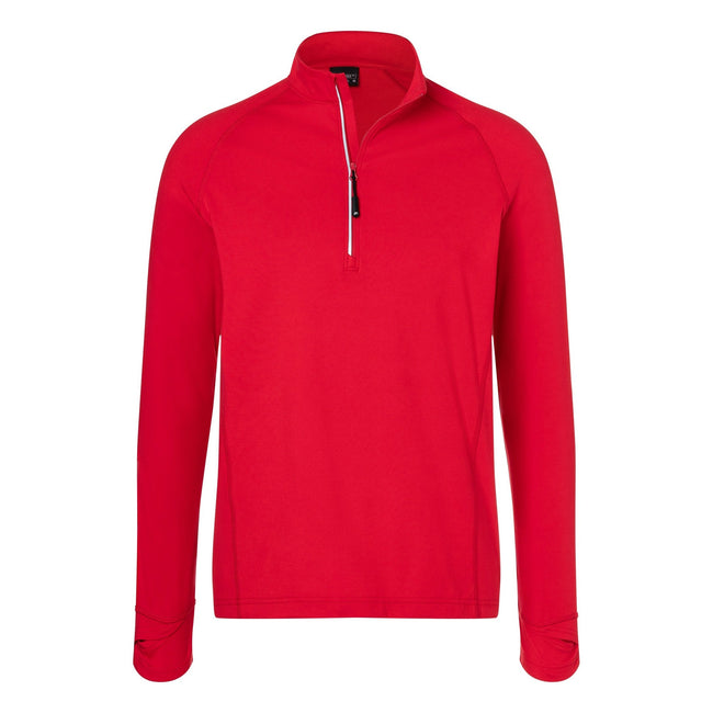 Red - Front - James and Nicholson Mens Half Zip Sports Top