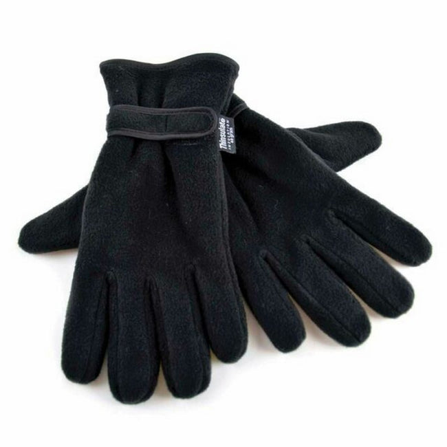 Black - Back - FLOSO Mens Thinsulate Thermal Fleece Gloves With Palm Grip (3M 40g)