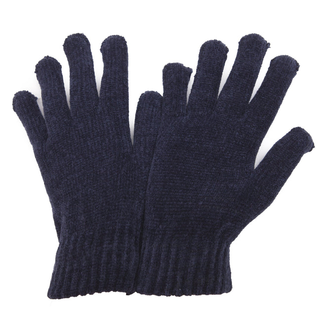 Navy - Front - Ladies-Womens Chenille Winter Magic Gloves