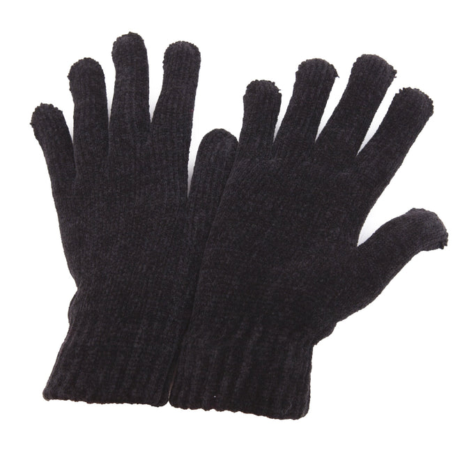 Black - Front - Ladies-Womens Chenille Winter Magic Gloves
