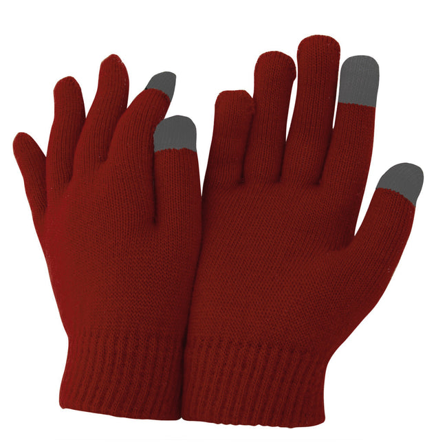 Oxblood - Front - FLOSO Unisex Mens-Womens IPhone-iPad Mobile Touch Screen Winter Magic Gloves