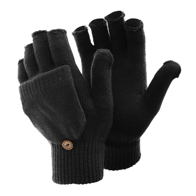 Brown - Front - FLOSO Ladies-Womens Winter Capped Fingerless Magic Gloves