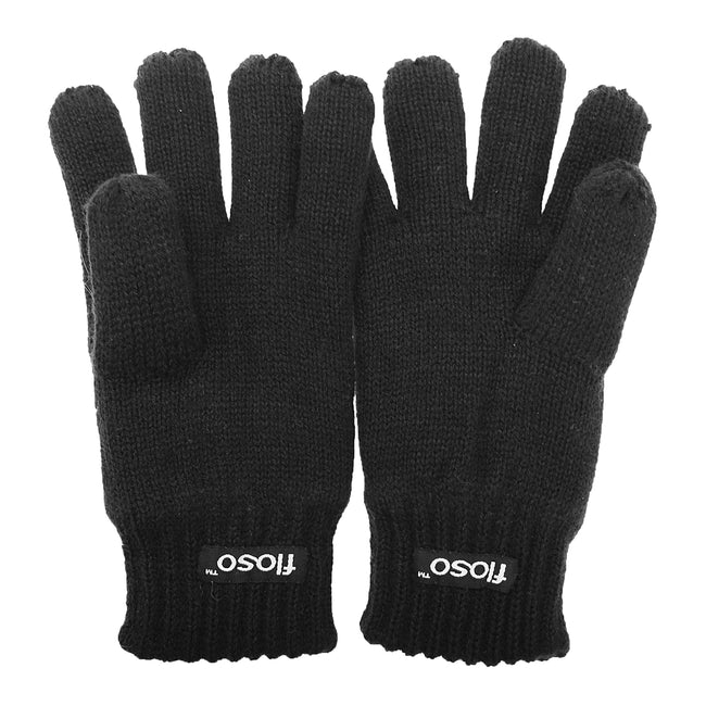 Black - Front - FLOSO Childrens Unisex Knitted Thermal Thinsulate Gloves (3M 40g)