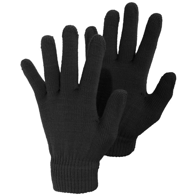 Black - Front - Ladies-Womens Plain Winter Magic Gloves