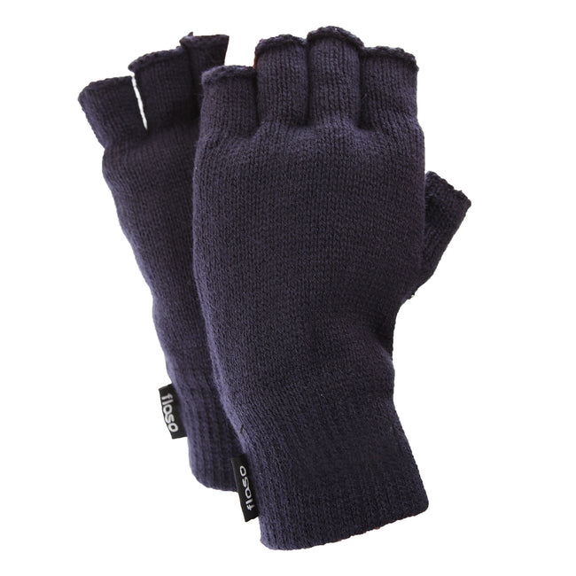 Navy - Front - FLOSO Mens Thinsulate Thermal Fingerless Gloves (3M 40g)