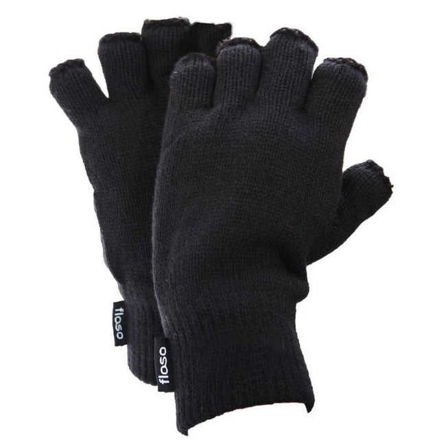 Black - Front - FLOSO Mens Thinsulate Thermal Fingerless Gloves (3M 40g)