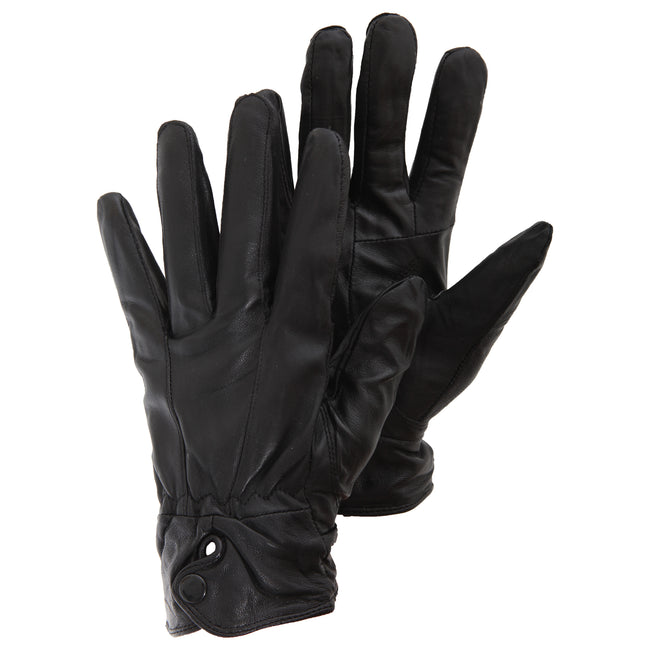 Black - Front - Ladies-Womens Plain Genuine Leather Gloves