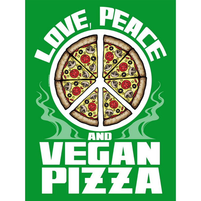 Green - Side - Grindstore Love Peace & Vegan Pizza Tote Bag