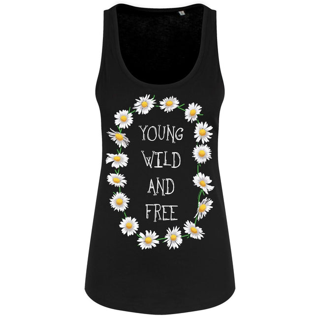 Black - Front - Grindstore Young Wild & Free Ladies Floaty Tank