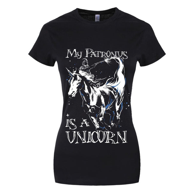 Black - Front - Grindstore My Patronus Is A Unicorn Ladies T-Shirt