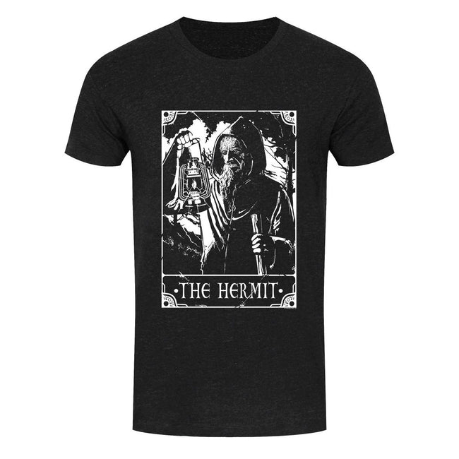 Heather Black - Front - Deadly Tarot Mens The Hermit T Shirt
