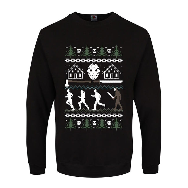 Black - Front - Grindstore Mens Camp Crystal Lake Christmas Jumper