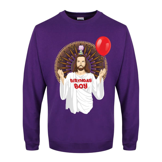 Purple - Front - Grindstore Mens Birthday Boy Christmas Jumper