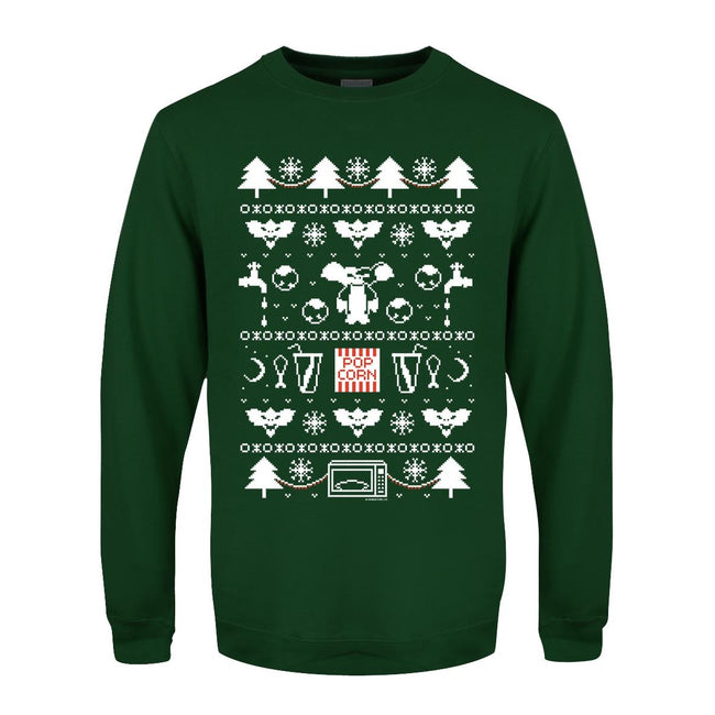 Bottle Green - Front - Grindstore Mens Mogwai Pattern Christmas Sweater